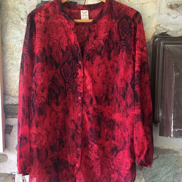 Red Rose Paisley Print Sheer Button Up, sz 1XL